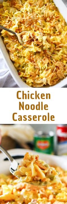 Easy family dinner ideas like Chicken Noodle Casserole are a great way to have comfort food fast. Amazing chicken recipes like this are always a favorite!  #chickennoodle #casserole #dinnerrecipes #easyrecipes #easycasserolerecipes