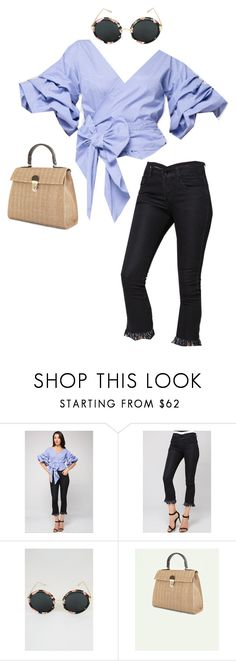 """""""Funnel Wrap Around Top, Lady Bamboo, Flower Rim Sunglasses and Black Denim Jeans"""" by ownthelooks ❤ liked on Polyvore"""