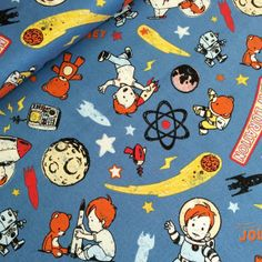 October Afternoon - rocket age - rocket blue £12.80 October Afternoon, Fabric Material, Kids Rugs, Graphics, Vintage, Decor, Decoration, Charts, Decorating