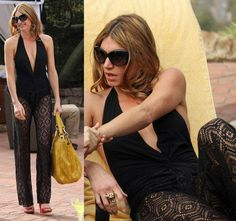 Josslyn's black plunge twist front swimsuit and crochet cover-up pants on Mistresses Rochelle Aytes, Jes Macallan, Crochet Pants, Crochet Cover Up, Black One Piece Swimsuit, Mistress, Swimsuits, Becca, Outfits