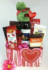 Valentine's gift basket by The Frederick Basket Company with our Swirly Hearts Gift Basket Box. #boxco