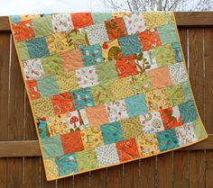 Unisex Baby Quilt Mind Your Ps and Qs Orange by JennyMsQuilts, $145.00