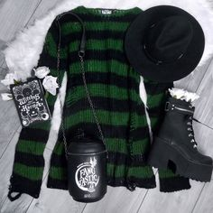 Putting The Sin In Absinthe 💚 How Would U Style The Latest Striped Knit? Dark Fashion, Gothic Fashion, Fashion Looks, Punk Goth Fashion, Grunge Fashion Winter, Black Aesthetic Fashion, Summer Grunge, Latex Fashion, Steampunk Fashion