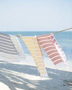 Pinstriped Fouta beach towel: www. Pinstriped Fouta beach towel: www.