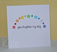 I love the simplicity (only two rubberstamps used) and the color!  You brighten my day by just kate2013, via Flickr