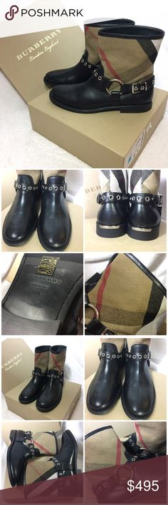 "NIB Burberry Queenstead Check Ankle Boot $450 onⓂ️ Brand new in box. Size US 8.5(EU 38.5) Retail: $795 plus tax  $450 on Ⓜ️ercari Burberry grained leather and check canvas ankle boot. 1"" stacked heel with logo plaque. Round toe. Harness ankle strap. Pull-on style. Leather lining. Rubber outsole. ""Queenstead"" is imported.  Size 9  ✅Price firm UNLESS bundled.       List with the LOWEST price ❌Don't asked me for lowest.  ❌NO Trade ❌Lowball Offer Will be IGNORED&BLOCKED.  ⚡️Serious Buyer…"