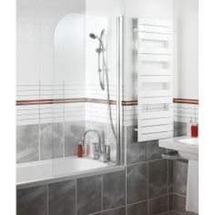 Rise and fall hinge for smooth operation and compact seating on the bath. 6mm glass.