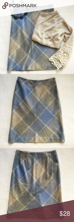 """🎉HOST PICK🎉 {Ann Taylor} Wool Plaid A-Line Skirt NWT! 🎉Host Pick 11/13🎉 Great fall skirt. Blue, gray, and cream plaid skirt. Fully lined. Side zipper with hook and eye closure. 14"""" flat across waist. 23 1/2"""" long. 69% wool 31% nylon. Ann Taylor Skirts A-Line or Full"""