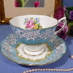 Pretty Royal Albert Enchantment Tea Cup and Saucer Teal Blue