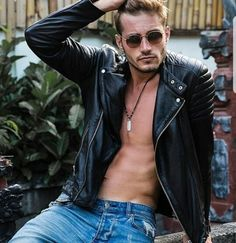 Neal Howell - Will Higginson Leather Men, Leather Jacket, Gay Aesthetic, Blonde Guys, Winter Chic, Spring Hairstyles, Bomber Jacket Men, Attractive People, Jeans