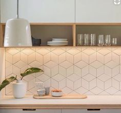 Choosing tiles for a Scandinavian style kitchen - A Scandinavian kitchen traditionally has a simple and elegant design, that manages to be both class - Scandinavian Tile, Scandinavian Kitchen Backsplash, Modern Kitchen Backsplash, Kitchen Splashback Tiles, Splashback Ideas, Kitchen Soffit, Splashbacks For Kitchens, Wall Tiles For Kitchen, Kitchen Tiles Design