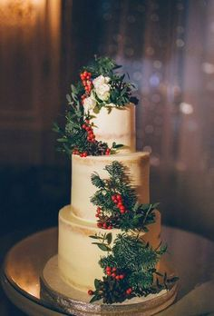 Fabulous Winter Wedding Cakes We Adore ★ See more: www.weddingforwar… - 30 Fabulous Winter Wedding Cakes We Adore Floral Wedding Cakes, Wedding Cake Designs, Wedding Flowers, Winter Wedding Cakes, Winter Weddings, Wedding Dresses, Winter Themed Wedding, Winter Wedding Centerpieces, Winter Cakes