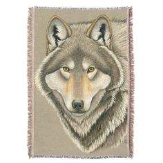 """Grey Wolf throw blanket by Rebecca Wang on Zazzle.  The blanket measures 54"""" long by 38"""" wide and is made from 75% cotton and 25% polyester.  Blanket is very soft and has a tassel trim."""