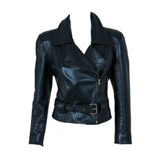 1990's Jean-Claude Jitrois Rare Black Leather Motorcycle Jacket ($1,200) ❤ liked on Polyvore featuring outerwear, jackets, coats, tops, rider jacket, real leather jackets, leather motorcycle jacket, jitrois and leather jackets