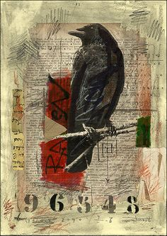 PRINT Raven -  Mixed media collage By Mirel E.Ologeanu. $6.91, via Etsy.