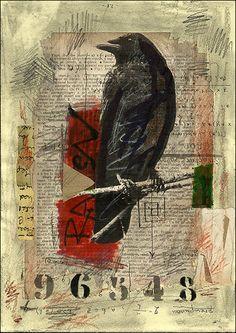 PRINT Raven -  Mixed media collage By Mirel E.Ologeanu. $6.91, via Etsy.