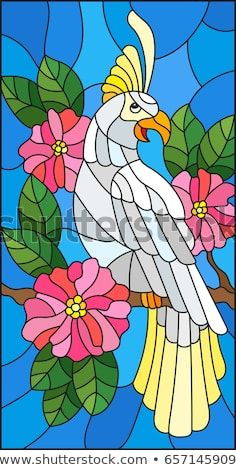 Illustration in the style of stained glass with a beautiful parakeet sitting on a branch of a blossoming tree on a background of leaves and sky Stained Glass Birds, Faux Stained Glass, Stained Glass Designs, Stained Glass Panels, Stained Glass Patterns, Glass Painting Patterns, Glass Painting Designs, Mandala Painting, Fabric Painting