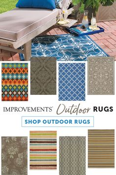 Liven up your outdoor living area with area rugs! With fun colors and patterns, outdoor rugs are a great way to add some pizzazz to your deck or patio. Outdoor Living Areas, Outdoor Rooms, Outdoor Fun, Outdoor Decor, Backyard Playground, Backyard Retreat, Hot Tub Deck, Affordable Area Rugs, Garden Living