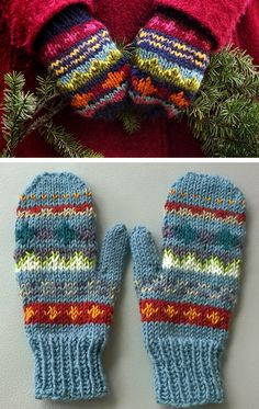 Free Knitting Patter Free Knitting Pattern for Scrap Mittens Knitted Mittens Pattern, Fair Isle Knitting Patterns, Knit Mittens, Knitted Gloves, Knitting Stitches, Knitting Designs, Knitting Socks, Free Knitting, Baby Knitting