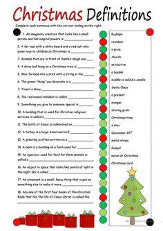 Christmas Definitions (key included) worksheet - Free ESL printable worksheets made by teachers Christmas Trivia, Christmas Worksheets, Christmas Printables, Family Christmas, Christmas Traditions, Christmas Holidays, Christmas Tree, Xmas Games, Holiday Games