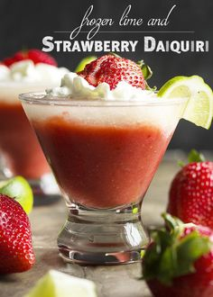 Frozen Strawberry Lime Daiquiri - This frozen strawberry daiquiri ...