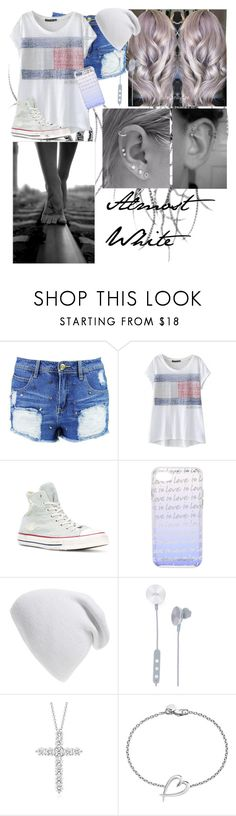 """Almost White"" by infinite-exo-girl ❤ liked on Polyvore featuring Boohoo, WithChic, Converse, Rebecca Minkoff, Phase 3, i.am+, Blue Nile and Shaun Leane"