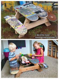 Skateboards recyclés en table de jeux pour enfants