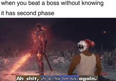 When you beat a boss without knowing it has second phase - iFunny :) Gamer Humor, Gaming Memes, Funny Images, Funny Photos, Terraria Memes, Boss Music, Video Game Memes, Dark Memes, Dark Souls