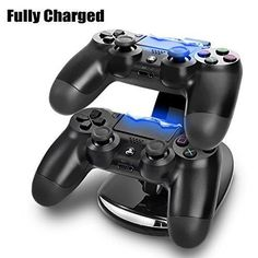 TNP PS4 Controller Charge Station - 2x USB Simultaneous Charger Dual Charging Dock Cradle Stand Accessory for Sony Playstation 4 Gaming Control with LED Indicator  Micro Cable (Black) [Playstation 4]