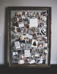 Wire framed family photo display
