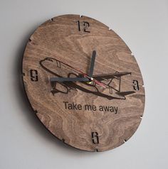 Pilot gift Wall Clock Wooden Airplane Room Decor Aviation Round Hanging Wanderlust Travel Gift for Her Flight Attendant Girlfriend Adventure