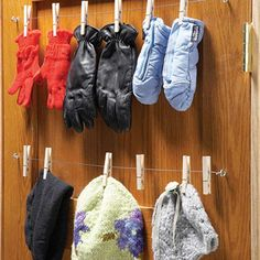 Easy Mitten Organizer, Made With A Yardstick And Clothespins! | Cleaning U0026  Organization Tips | Pinterest | Mittens, Organizing And Organizations