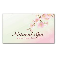Pink And White Cherry Blossom Natural Spa Business Cards. This is a fully customizable business card and available on several paper types for your needs. You can upload your own image or use the image as is. Just click this template to get started!