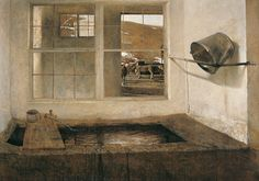 """Andrew Wyeth: """"Looking Out, Looking In"""" Andrew Wyeth, Spring Fed, 1967, tempera on masonite, Collection of Bill and Robin Weiss. © Andrew Wyeth"""