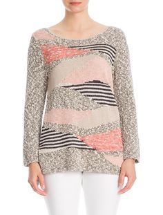 NIC + ZOE SUMMER 2016 - VINTAGE ISLE - The Coral Line Sweater features weaving lines of coral and neutral tones blocked together.