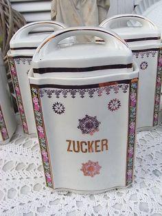 Vintage Dosen - alte Vorratsdose Zucker 20er Jahre Dose shabby - ein Designerstück von artdecoundso bei DaWanda