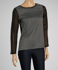 Look at this #zulilyfind! Black & White Geometric Top #zulilyfinds