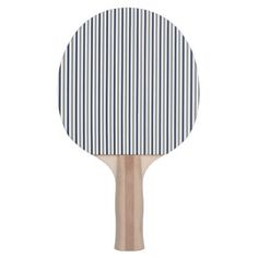 Navy Grey and White Vertical Stripes Ping Pong Paddle - pattern sample design template diy cyo customize