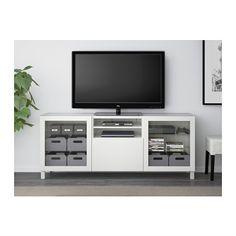 BESTÅ TV unit - Lappviken/Sindvik white clear glass, drawer runner, push-open - IKEA