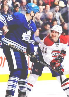 Frazer McLaren, probably doing everything within his power to keep himself from punching Brendan Gallagher in the face. Gotta love it. Hockey Baby, Ice Hockey, Montreal Canadiens, Hockey Quotes, Columbus Blue Jackets, Hockey Games, Toronto Maple Leafs, Hockey Players, Hockey Stuff