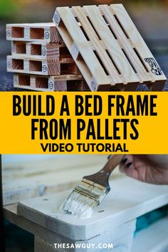Learn how to build a bed frame from pallets with our step-by-step guide and vide.Learn how to build a bed frame from pallets with our step-by-step guide and video tutorial. This DIY furniture proje# bed Pallet Bed Frames, Diy Pallet Bed, Diy Pallet Furniture, Diy Furniture Projects, Diy Pallet Projects, Bedroom Furniture, Furniture Storage, Industrial Furniture, Furniture Plans
