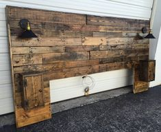 Rustic Headboard Rustic Lights Headboard King Size Headboard Queen Size Headboard Cabinets Outlets and USB Charger Modern Headboard Distressed Headboard, Reclaimed Wood Headboard, Modern Headboard, Reclaimed Furniture, Queen Headboard, Headboards For Beds, Pallet Furniture, Headboard Ideas, Full Headboard