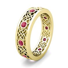 gold band with rubies | Celtic Heart Knot Wedding Band in 18k Gold Bezel Set Ruby Ring