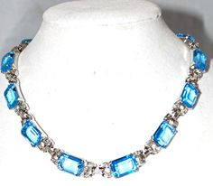 Vintage JOMAZ MAZER Emerald Cut Aqua Blue Glass Rhinestone Rhodium NECKLACE Choker