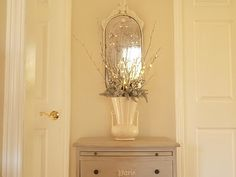 chest of drawers with stencil, old painted mirror