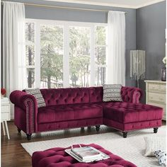 2 pc House of hampton millry wine red velvet like fabric sectional sofa tufted accents. This set includes the 2 pc sectional set , LAF sofa, RAF chaise. Sectional as shown measures x x x H. Optional ottoman also available separately Teal Living Rooms, Living Room Sofa, Living Room Decor, Burgundy Living Room, Fabric Sectional, Sectional Sofas, Decor Interior Design, Chesterfield, Decoration
