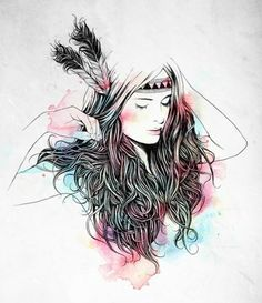 art, feathers, girl, hipster