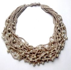 Crochet NECKLACE. Long necklace. Statement necklace. Long beaded necklace. Bead crochet necklace. Multi-strand necklace. Linen jewellery. Women gifts. Statement necklaces. Knitted necklace. Beaded crochet. Pearl colour. Natural thread jewellery. This necklace ready to ship. I can make