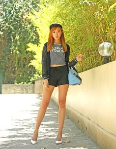 Camille wears MINT Clothing in casual style, injected with her signature sophisticated twist. Camille Co, Travel Style, Style Icons, Casual Wear, Fashion Models, Stylists, Mini Skirts, Mint, Asia