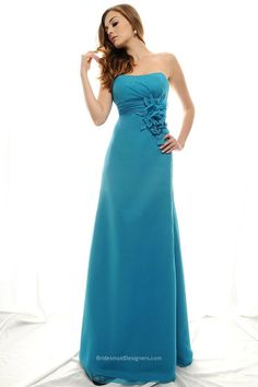 Goddess Turquoise Sleeveless Empire Floor Length A-line 3D Flower Chiffon Prom Wedding Party Gown